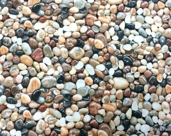 Mexican Beach Pebbles Fabric By the Yard Fat Quarter Pebbles & Rocks Gravel Small River Rock Landscape 100% Cotton Quilting Fabric t3/8