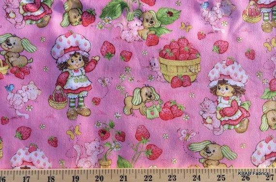 Strawberry shortcake fabric by the yard fat quarter pink for Children s clothing fabric by the yard