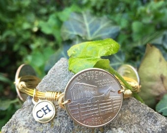 Kentucky Horse Coin  Wire Wrapped Bangle Bracelet