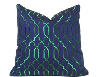 "Robert Allen Navy Blue Emerald Green Embroidered Lattice Fretwork Pillow Cover, fits 12x18 12x24 16x26 16"" 18"" 20"" 22"" 24"" Cushion Inserts"