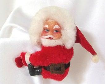 Vintage Clip On Plush Santa Decoration
