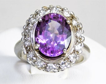 Color Changing Sapphire Dinner Ring with Diamond Halo