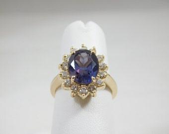 14kt Yellow Gold 2.5 carat Blue Sapphire & Diamond Ring