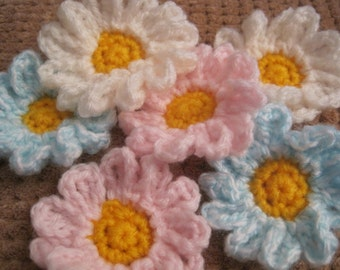 Free shipping, flower motif,flower motives, daisy motif, daisy motives,fower applique,daisy motives,crochet flower,daisy applique,6motives