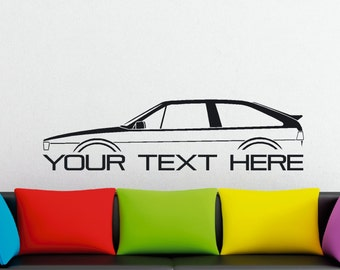 Large Custom car silhouette wall sticker - for Volkswagen Scirocco MK2 classic vw coupe