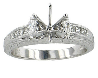 18K White Gold Princess And  Marquise ,Semi Mount