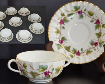 Royal Worcester Porcelain Soup Cup Saucer Set 18 Pieces in Bacchanal Grape Pattern Vintage Mid Century Decor