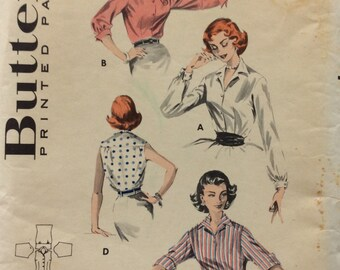 Butterick 8097 misses shirt size 14 bust 34 vintage 1950's sewing pattern