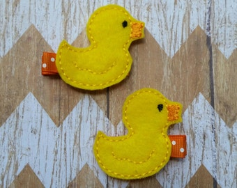 Rubber ducky hair clippies, ducky hair clips, duck clippies, rubber ducky hair bows, toddler hair clips, childrens hair clips, pigtail bows