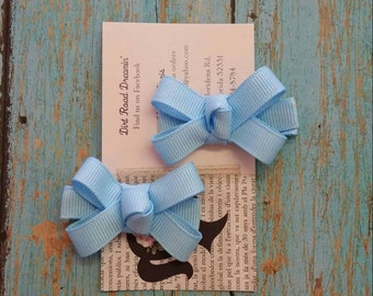 Baby Blue Clippie Set, Clippie Set, Blue baby bows, tiny baby hair bows.