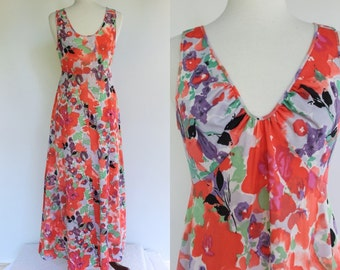 60's Nightgown.....60's Abstract Floral Print Nylon Nightgown
