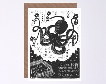 Octopus's Garden Card, The Beatles, Animal Lino Print, Sealife, Valentines Day, Illustrated by Hutch Cassidy