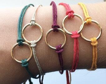 Gold Circle Hemp Bracelet