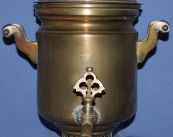 Antique Russian Kolchugino Metal Bronze Plated Teapot Samovar
