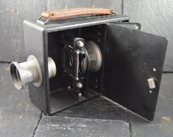rare vintage french camera image projector leather handle collectible