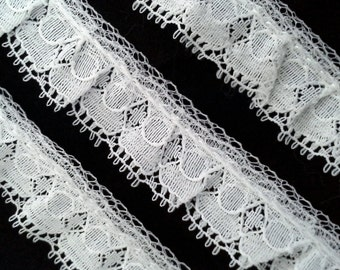 Vintage tiny white 3/4 inch ruffle lace trim- by the yard