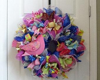 Summer deco mesh wreath, bird wreath, front door wreath, mesh wreath