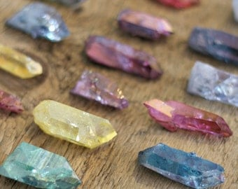 Aura quartz point lot, aura crystal, rose aura quartz, ruby aura quartz, blue aura quartz, hybrid aura quartz