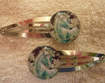 2  Unicorn Hair Snap Clips
