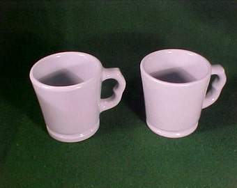 Powder Blue Coffee Mugs Pair Cocoa Hot Chocolate Mugs Two-fingered Handle