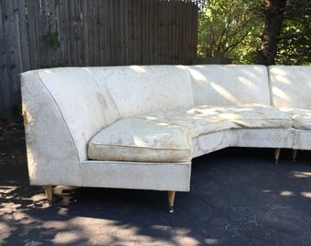 Retro mid century two piece white sectional living room office furniture in need of some TLC