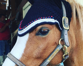 Hand made, custom fit horse fly bonnet