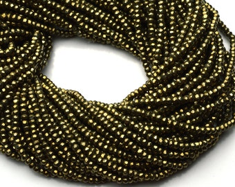 Natural Gemstone Golden Pyrite 3MM Micro Faceted Rondelle Beads 13 Inch Full Strand Machine Cut Beads
