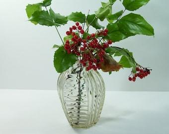 Ribbed glass vase vintage  Made in France