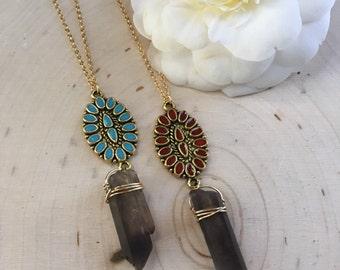 Crystal Necklace, Smokey Quartz Amulet Necklace