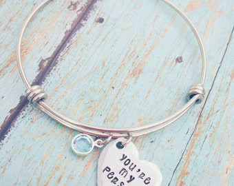 You're my person Expandable Style Bracelet - Stainless Steel Bracelet - Hand Stamped - Birthstone bracelet - Grey's