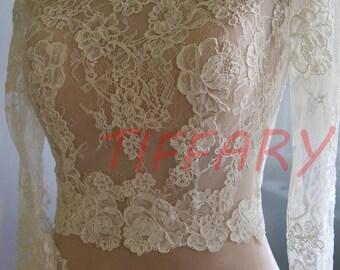 Wedding bolero, top, jacket of lace,alencon, sleeve long or 3/4, front of a full,  . Romance bridal bolero KARINA
