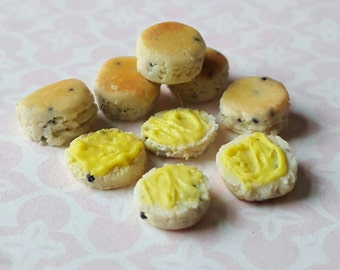 Scones and split buttered scones, dollhouse miniature food, afternoon tea time table food, miniature scones in one inch scale