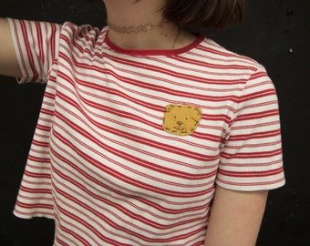 red striped crop top with bear
