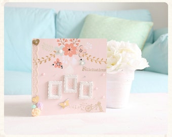 Congratulations newlyweds bicycle and flowers card