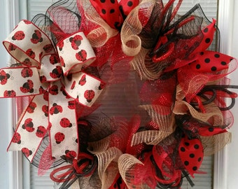 Ladybug Wreath, Spring Wreath, Jute Wreath, Bow, Ribbon Wreath, Seasons Wreath, Summer Wreath,