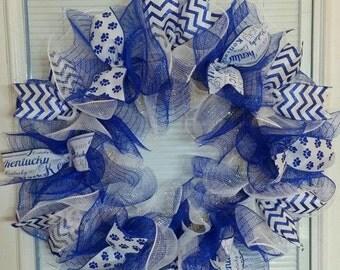 SALE Kentucky Wildcats Wreath, Kentucky Wreath, Wildcats Wreath, Basketball Wreath, Football Wreath, Deco Mesh Wreath, Ribbon Wreath