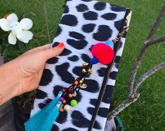 Leopard print folded clutch