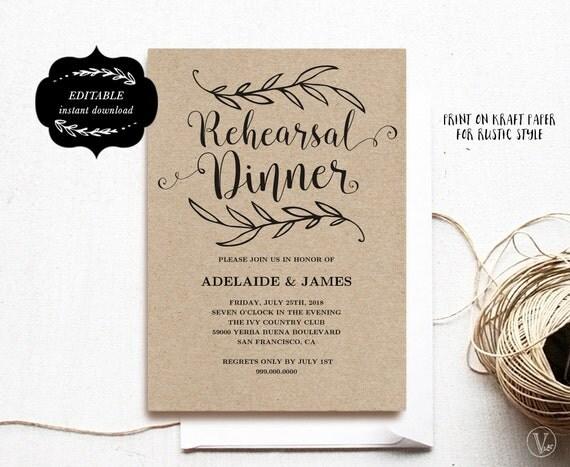 Good Printable Rehearsal Dinner Invitation Card Template, Kraft Rehearsal Dinner  Card, Instant DOWNLOAD   EDITABLE Text   5x7, RD001, VW01 Inside Dinner Card Template