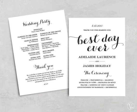 wedding program template kraft paper program diy by