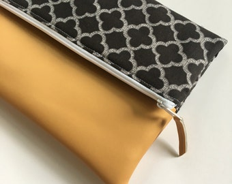 Black and White Lattice Fold Over Clutch, Clutch Purse, Vinyl Fold Over Clutch