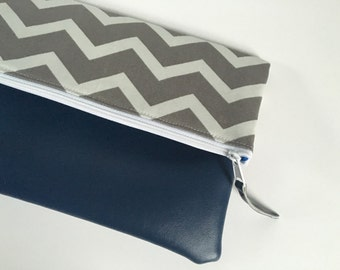 Grey and White Chevron Fold Over Clutch, Clutch Purse, Vinyl Fold Over Clutch