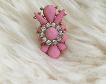 Soft Pink Rhinestone Cluster Adjustable Ring