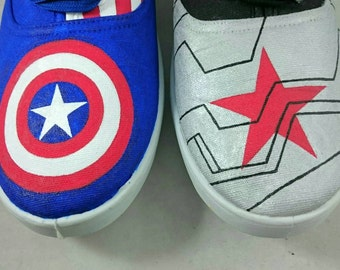 Captain America and Winter Soldier trainers, UK Size 7