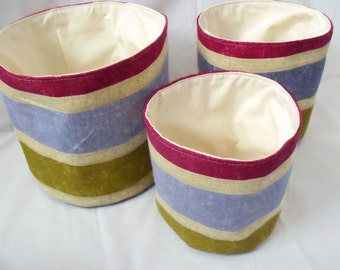 3 storage bins, storage buckets, striped fabric containers, stackable boxes, fabric baskets, storage tubs