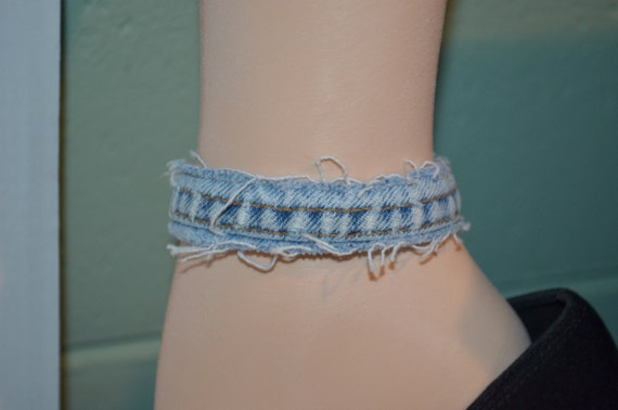 Ankle Bracelet Denim, Blue Denim Anklet, Faded Denim Anklet, Trendy Jean Anklet