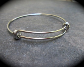 "Child Size Adjustable Bangle Bracelet in Stainless Steel with triple loops 2"" diameter Children's bangle bracelet expandable bangle"