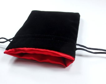 Dragon Fire Red Velvet Dice Bag with Satin Lining for Dungeons & Dragons, dnd,  also can be used as a velvet jewelry bag