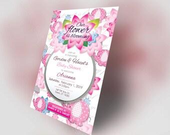 Flower & Elephant Baby Shower Invitation Set