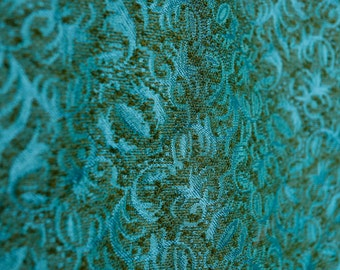 Turquoise & olive green vintage 50's 60's brocade brocatelle bedcover spread woven raised fabric w metallic turquosie threads / Full Double