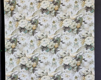 Birds, pheasants and flowers pale robbin's egg blue base with pale green, orange and yellow birds and flowers-lightweight cotton